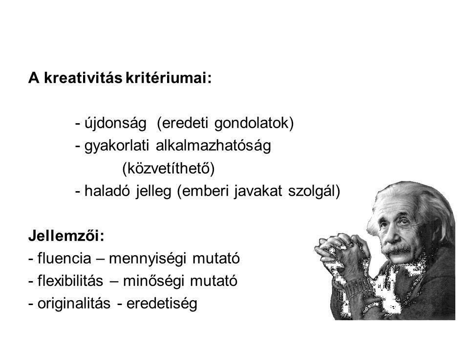 A kreativitás kritériumai: