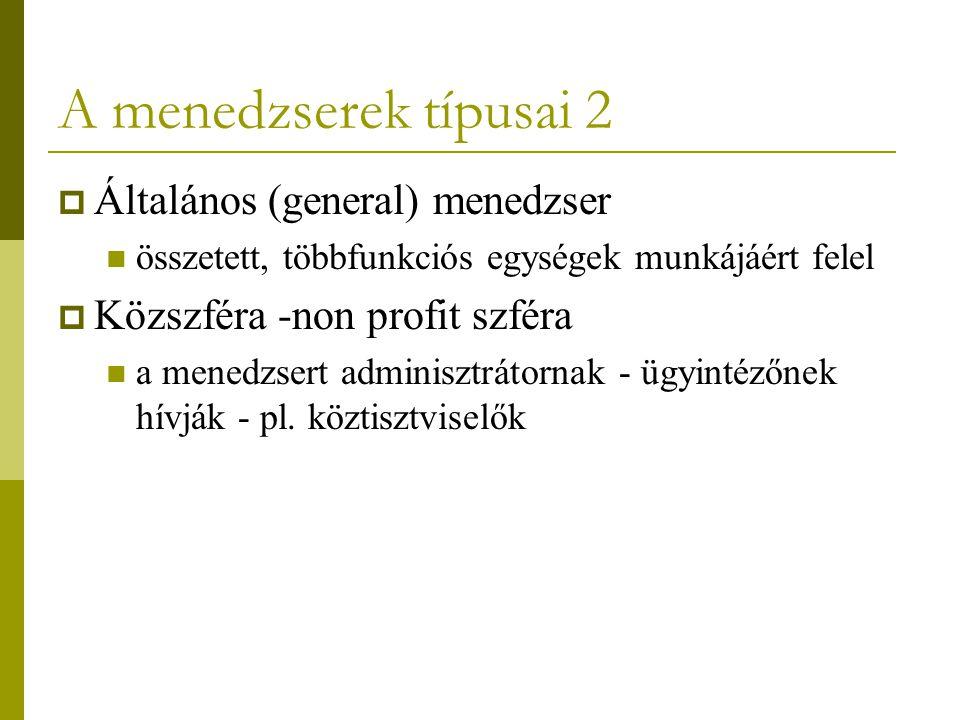 A menedzserek típusai 2 Általános (general) menedzser