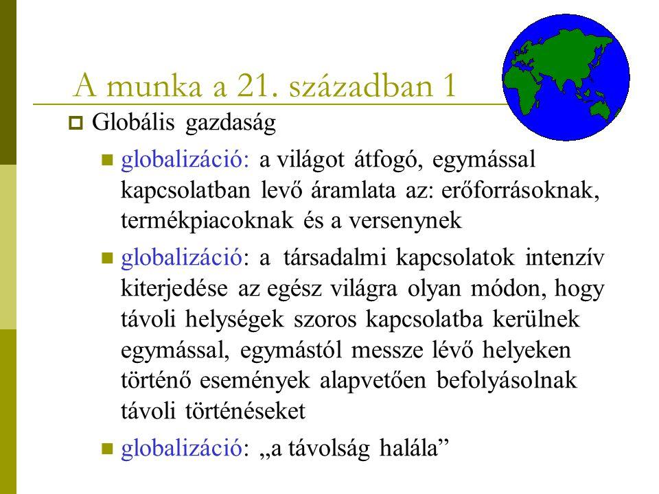 A munka a 21. században 1 Globális gazdaság