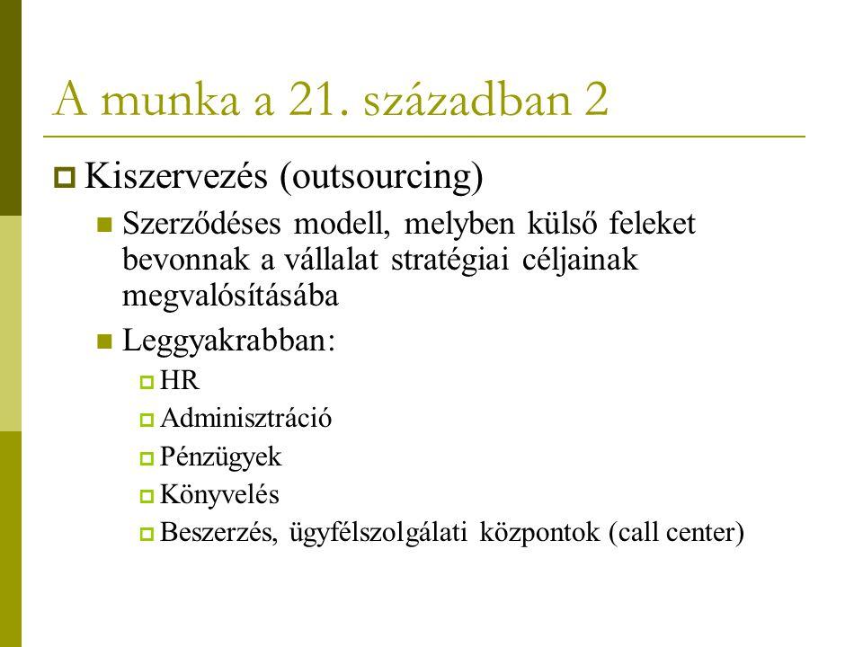 A munka a 21. században 2 Kiszervezés (outsourcing)