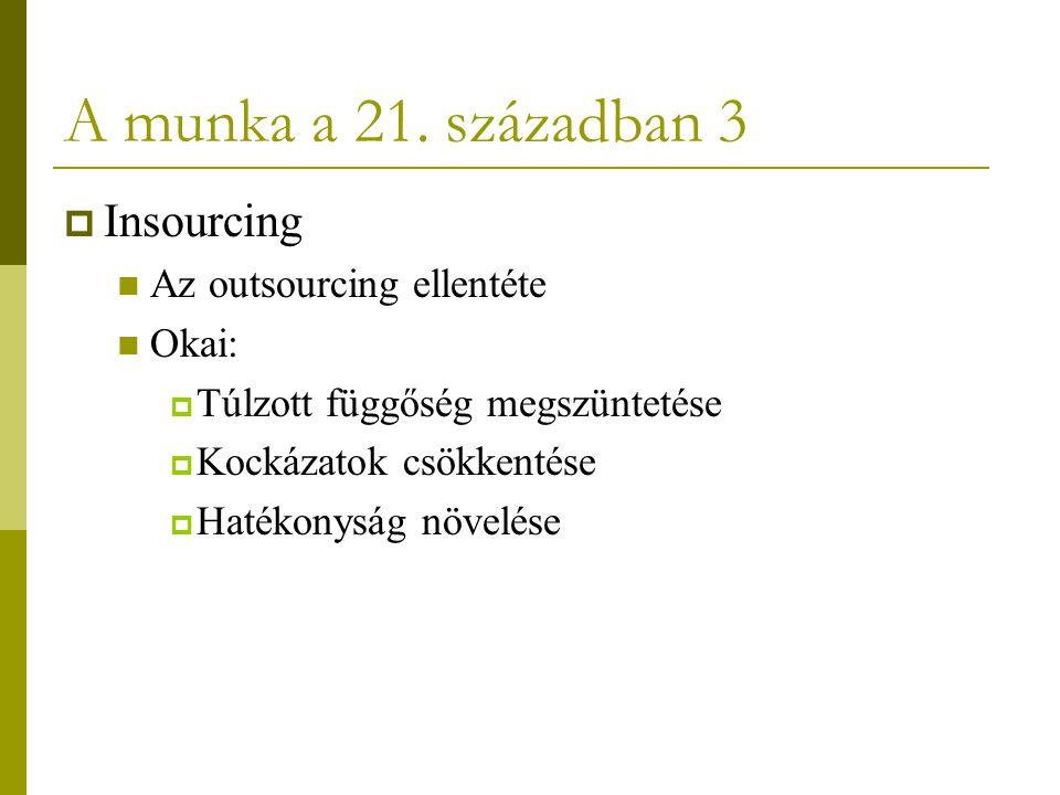 A munka a 21. században 3 Insourcing Az outsourcing ellentéte Okai: