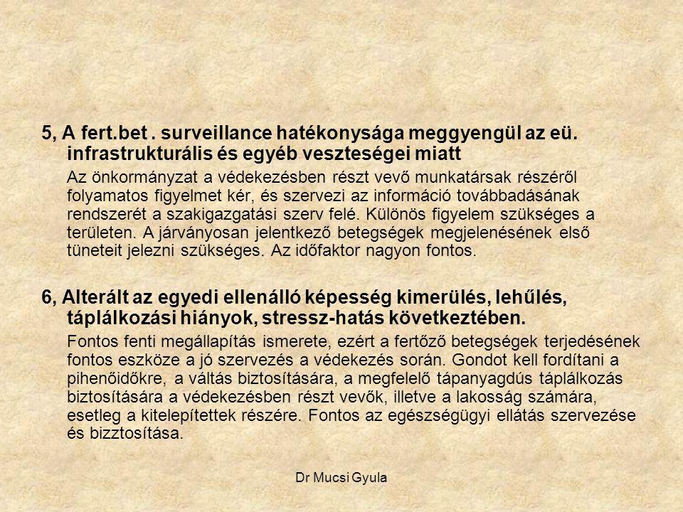 5, A fert. bet. surveillance hatékonysága meggyengül az eü