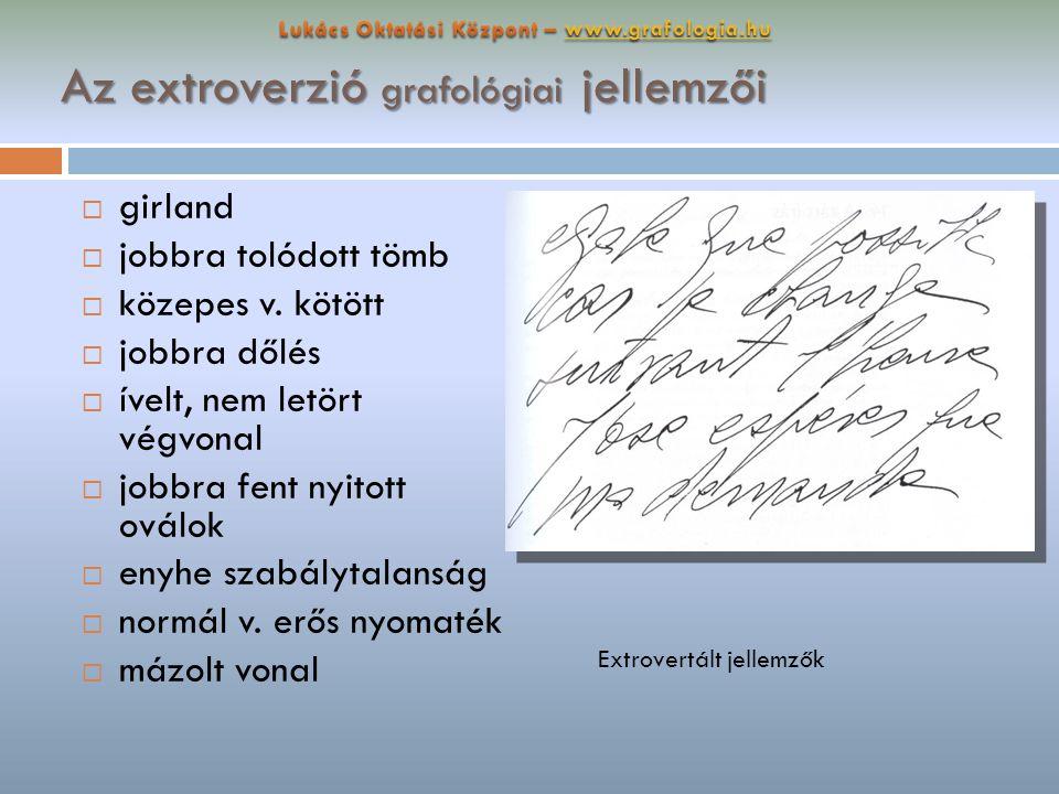 Az extroverzió grafológiai jellemzői