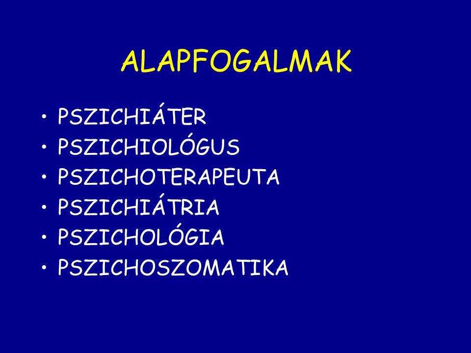ALAPFOGALMAK PSZICHIÁTER PSZICHIOLÓGUS PSZICHOTERAPEUTA PSZICHIÁTRIA