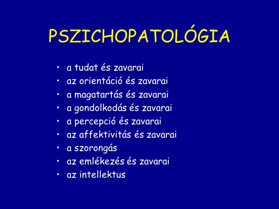 PSZICHOPATOLÓGIA a tudat és zavarai az orientáció és zavarai