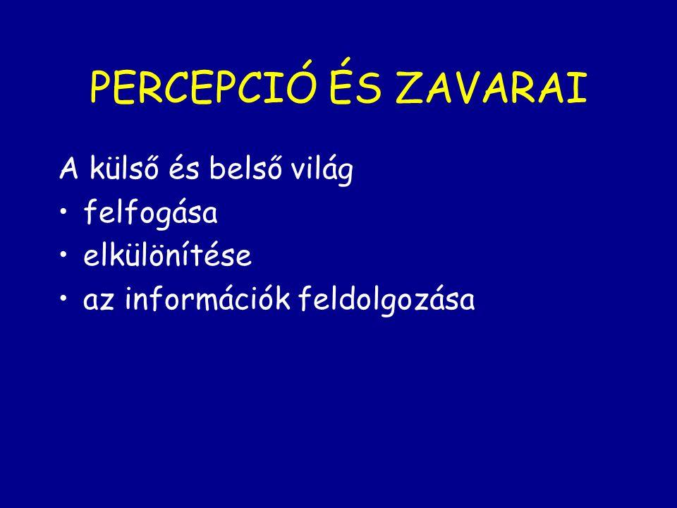 PERCEPCIÓ ÉS ZAVARAI A külső és belső világ felfogása elkülönítése