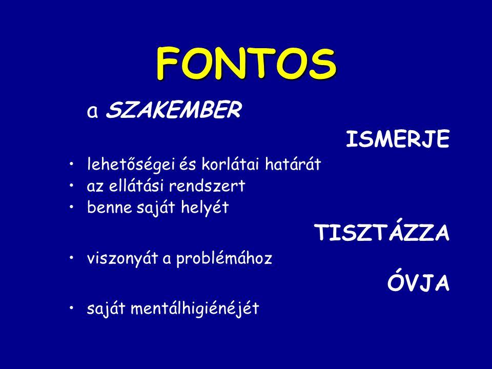 FONTOS a SZAKEMBER ISMERJE lehetőségei és korlátai határát