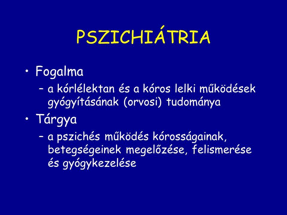 PSZICHIÁTRIA Fogalma Tárgya