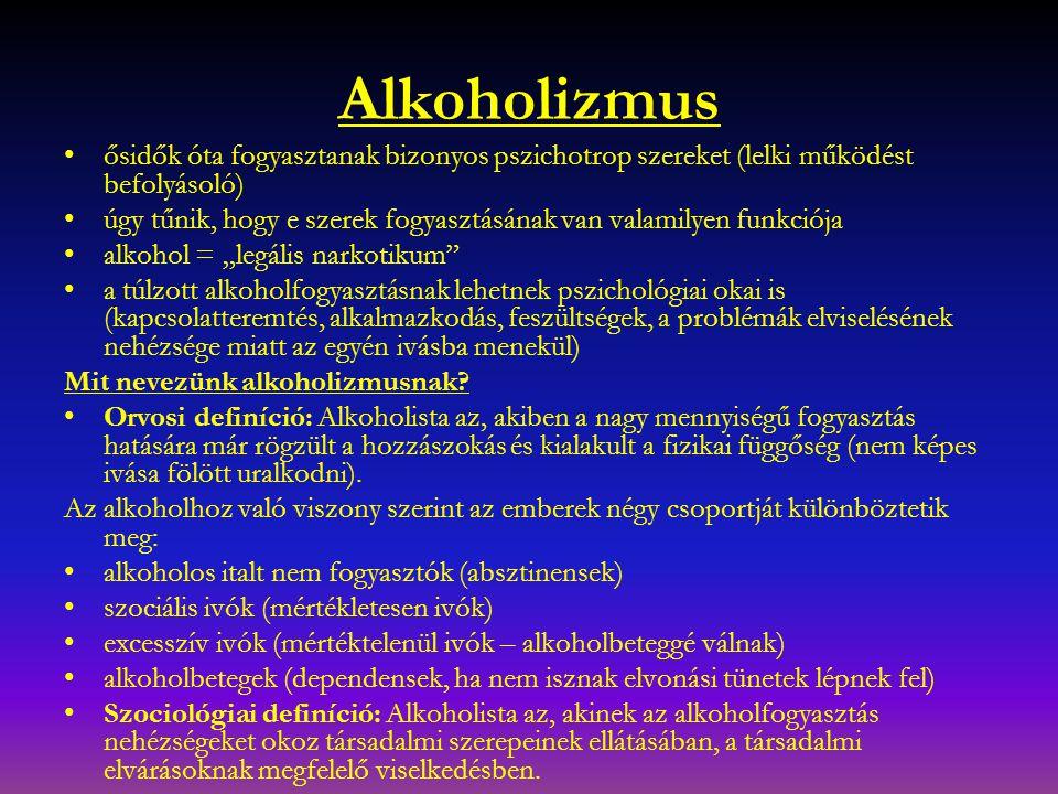 Alkoholizmus ősidők óta fogyasztanak bizonyos pszichotrop szereket (lelki működést befolyásoló)