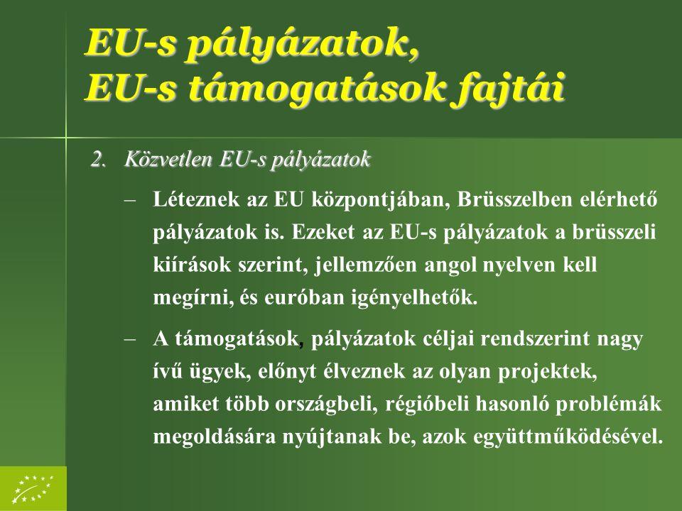EU-s pályázatok, EU-s támogatások fajtái