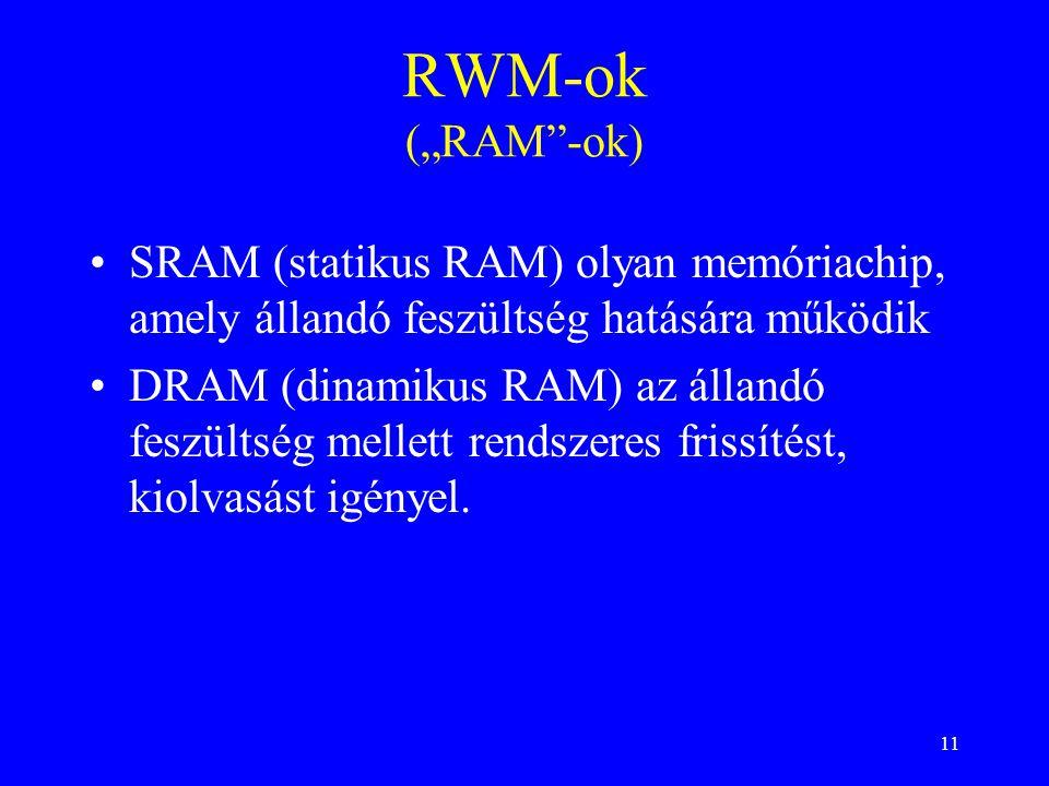 """RWM-ok (""""RAM -ok) SRAM (statikus RAM) olyan memóriachip, amely állandó feszültség hatására működik."""