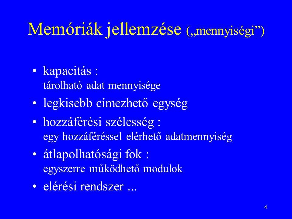 """Memóriák jellemzése (""""mennyiségi )"""
