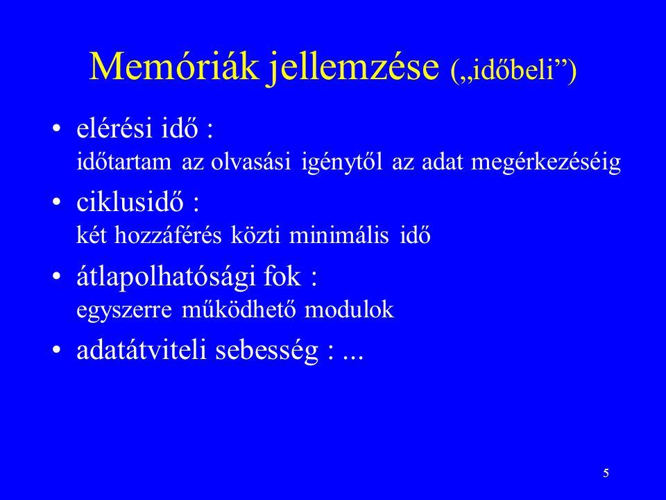 """Memóriák jellemzése (""""időbeli )"""