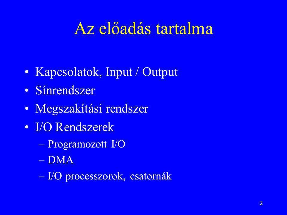 Az előadás tartalma Kapcsolatok, Input / Output Sínrendszer