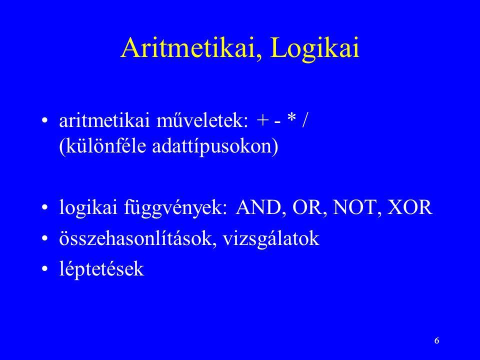 Aritmetikai, Logikai aritmetikai műveletek: + - * / (különféle adattípusokon) logikai függvények: AND, OR, NOT, XOR.
