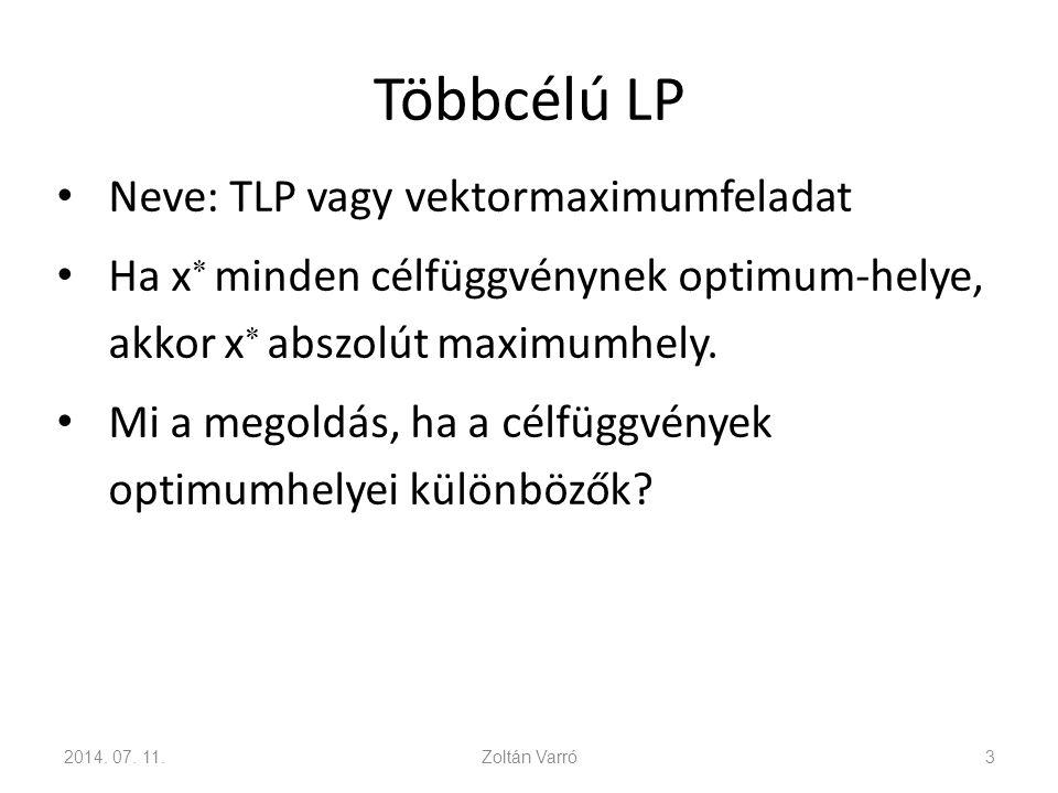 Többcélú LP Neve: TLP vagy vektormaximumfeladat