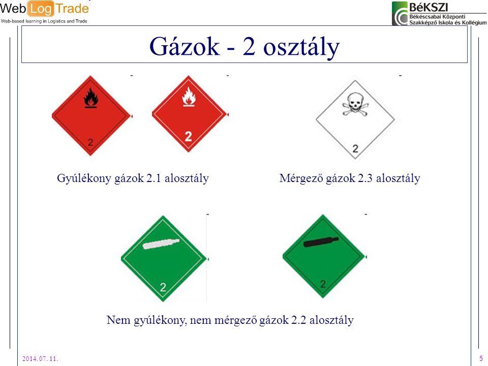 Gázok - 2 osztály Gyúlékony gázok 2.1 alosztály