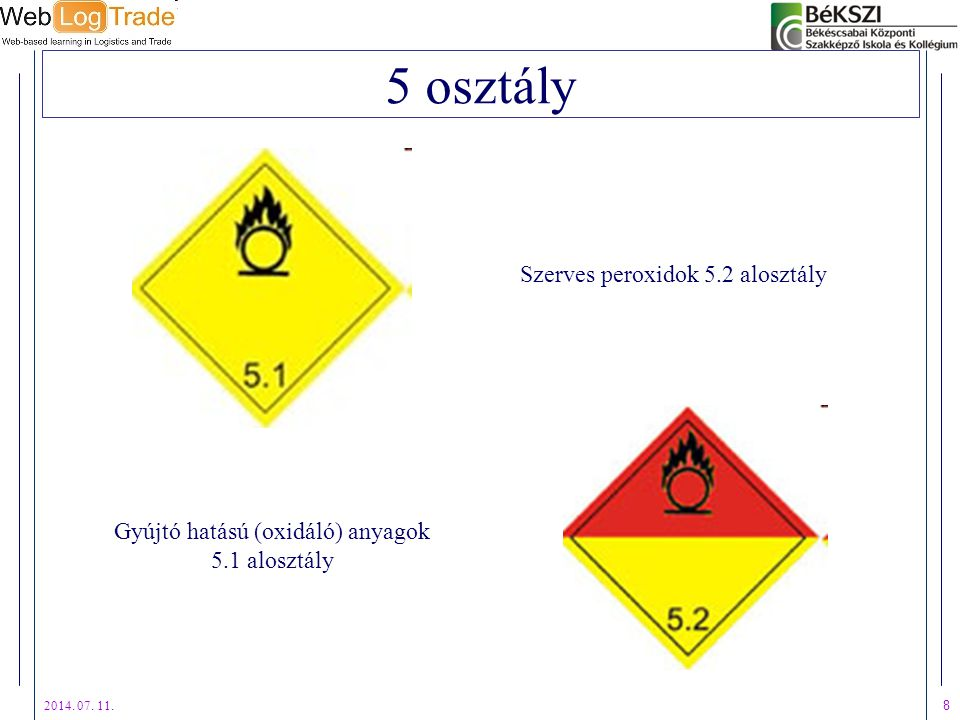 5 osztály Szerves peroxidok 5.2 alosztály