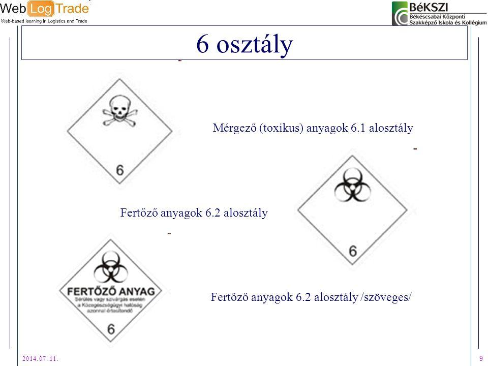 6 osztály Mérgező (toxikus) anyagok 6.1 alosztály