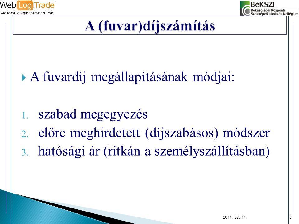 A (fuvar)díjszámítás A fuvardíj megállapításának módjai: