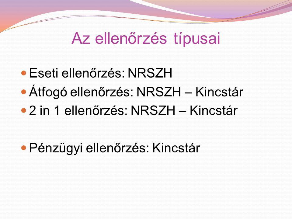 Az ellenőrzés típusai Eseti ellenőrzés: NRSZH