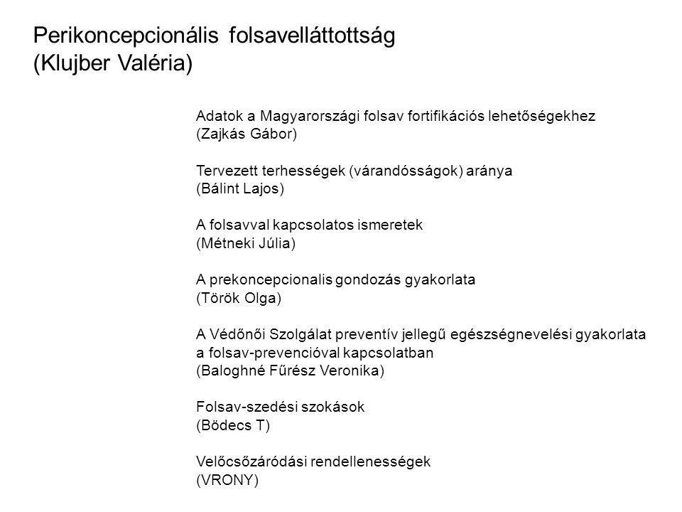 Perikoncepcionális folsavelláttottság (Klujber Valéria)