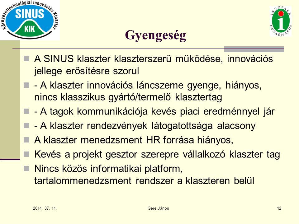 Gyengeség A SINUS klaszter klaszterszerű működése, innovációs jellege erősítésre szorul.