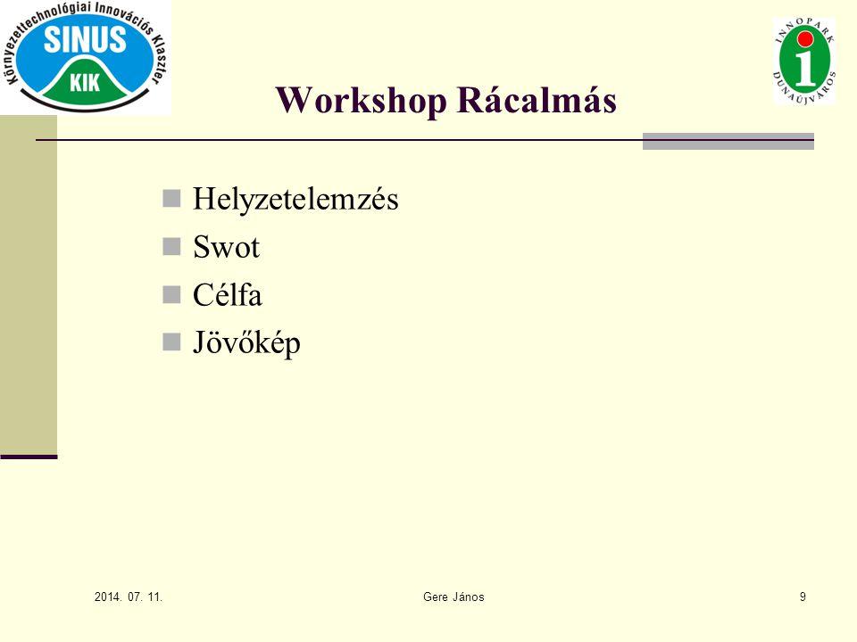 Workshop Rácalmás Helyzetelemzés Swot Célfa Jövőkép 9 2017.04.04.