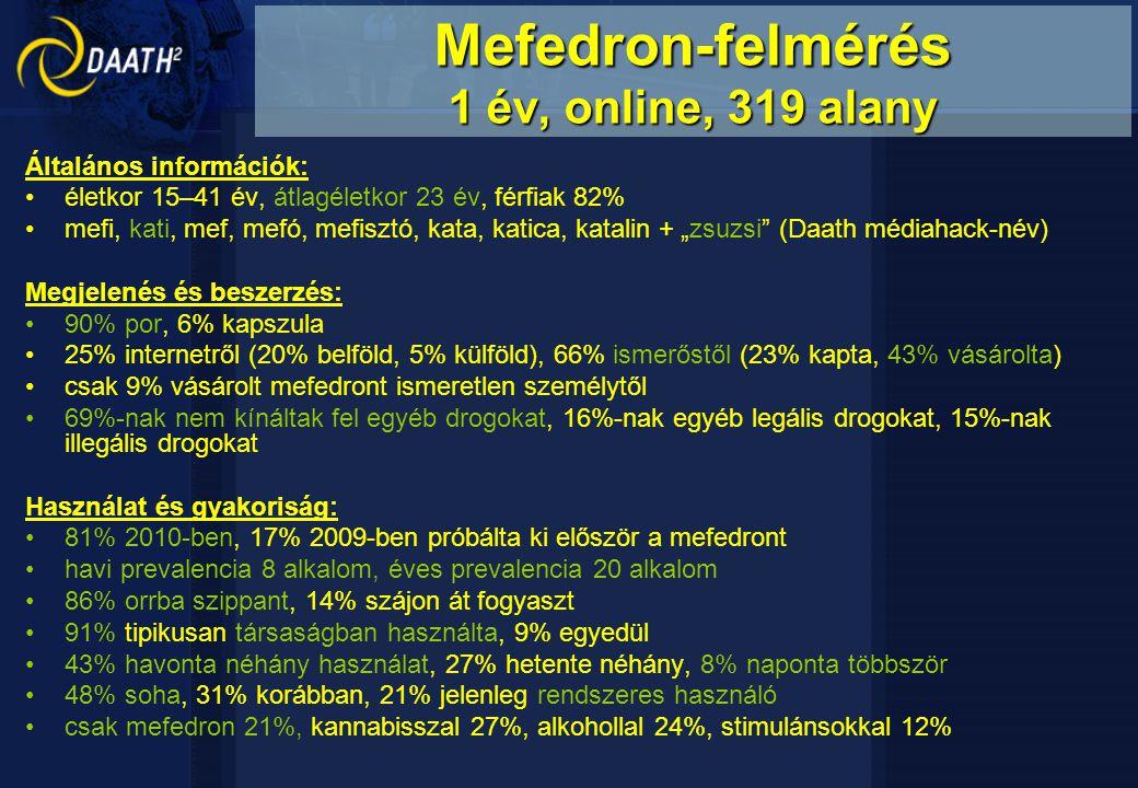 Mefedron-felmérés 1 év, online, 319 alany