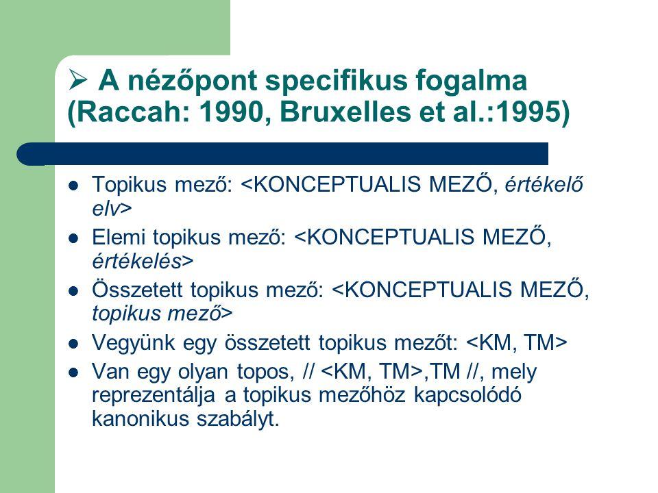  A nézőpont specifikus fogalma (Raccah: 1990, Bruxelles et al.:1995)