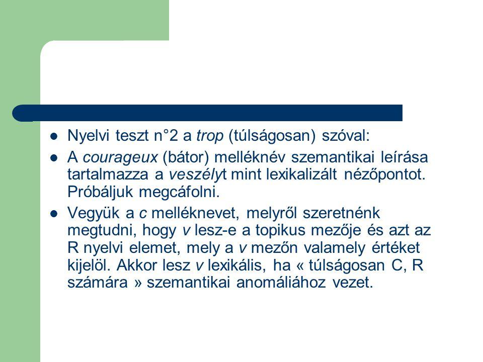 Nyelvi teszt n°2 a trop (túlságosan) szóval: