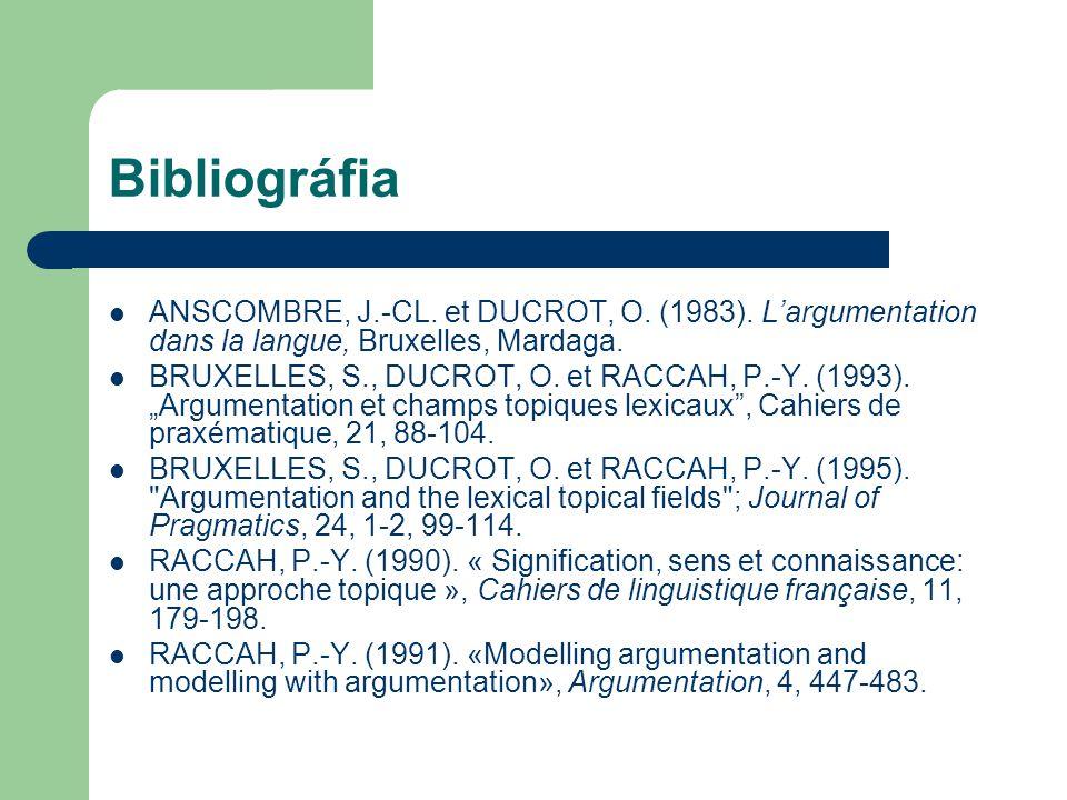 Bibliográfia ANSCOMBRE, J.-CL. et DUCROT, O. (1983). L'argumentation dans la langue, Bruxelles, Mardaga.