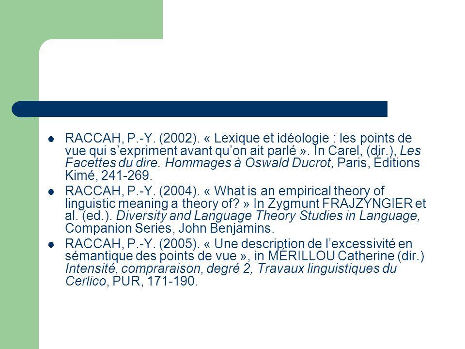 RACCAH, P.-Y. (2002). « Lexique et idéologie : les points de vue qui s'expriment avant qu'on ait parlé ». In Carel, (dir.), Les Facettes du dire. Hommages à Oswald Ducrot, Paris, Éditions Kimé, 241-269.