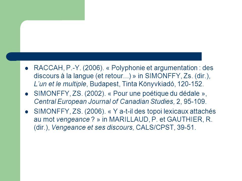 RACCAH, P.-Y. (2006). « Polyphonie et argumentation : des discours à la langue (et retour...) » in SIMONFFY, Zs. (dir.), L'un et le multiple, Budapest, Tinta Könyvkiadó, 120-152.