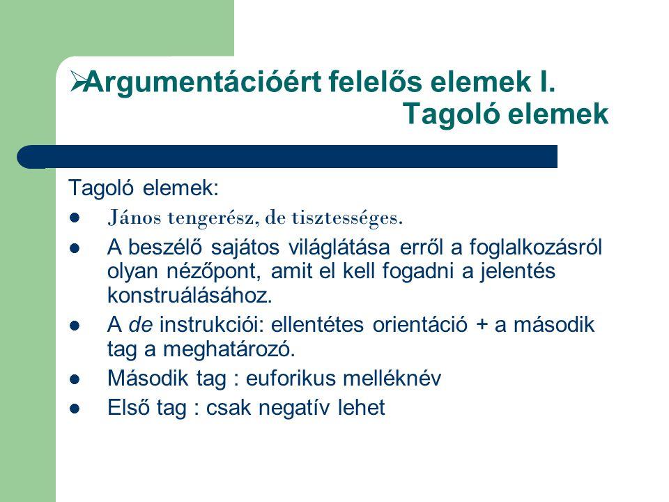 Argumentációért felelős elemek I. Tagoló elemek