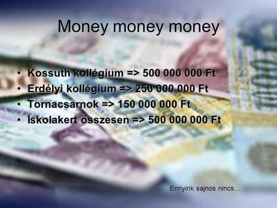 Money money money Kossuth kollégium => 500 000 000 Ft
