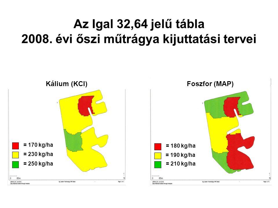 Az Igal 32,64 jelű tábla 2008. évi őszi műtrágya kijuttatási tervei