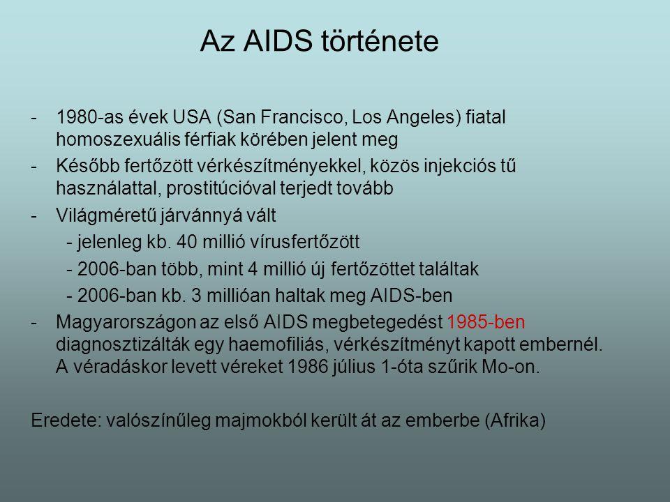Az AIDS története 1980-as évek USA (San Francisco, Los Angeles) fiatal homoszexuális férfiak körében jelent meg.