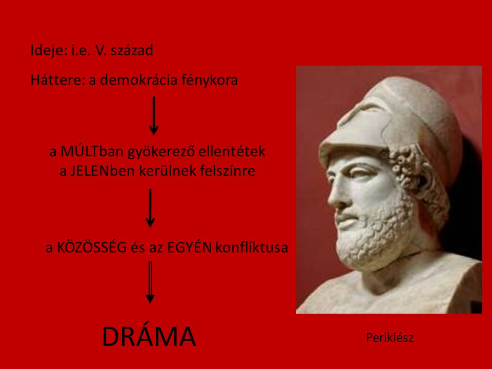DRÁMA Ideje: i.e. V. század Háttere: a demokrácia fénykora