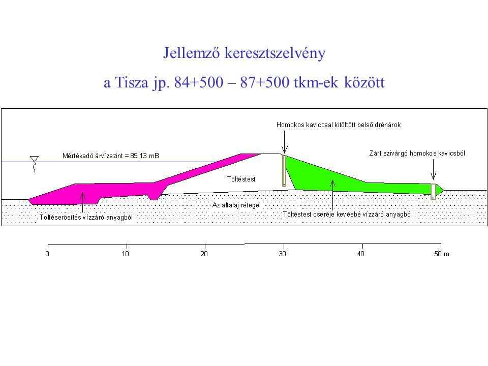 Jellemző keresztszelvény a Tisza jp. 84+500 – 87+500 tkm-ek között