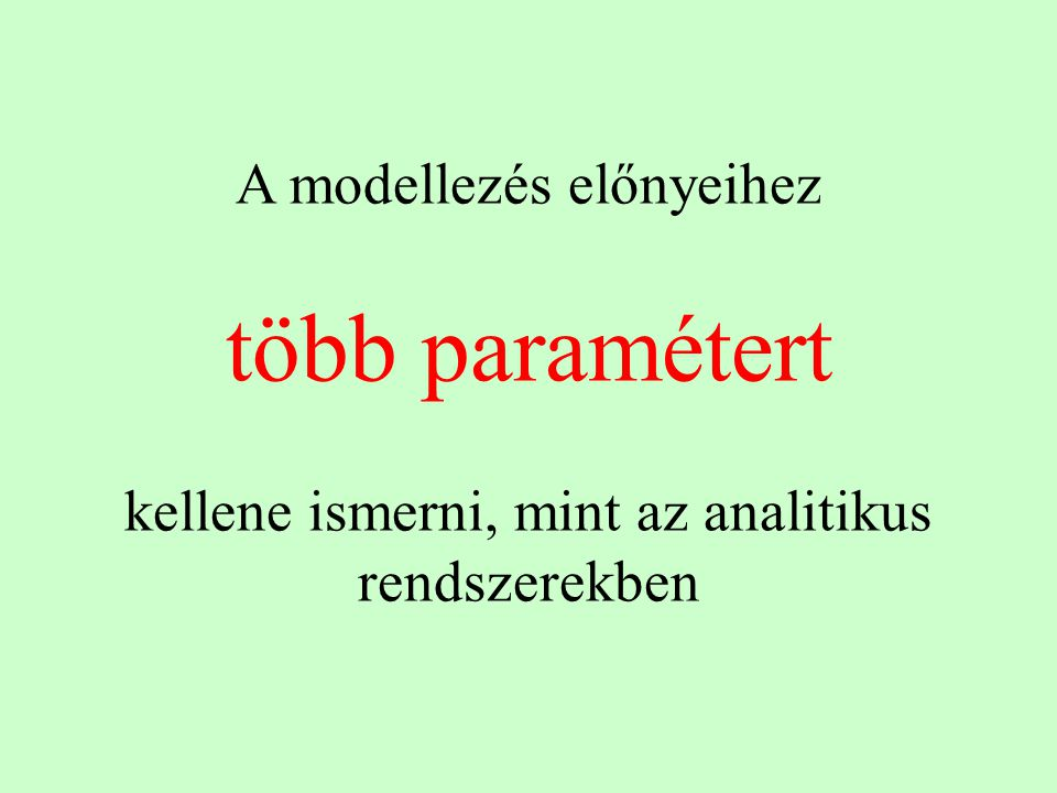 több paramétert A modellezés előnyeihez