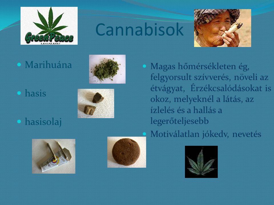 Cannabisok Marihuána hasis hasisolaj