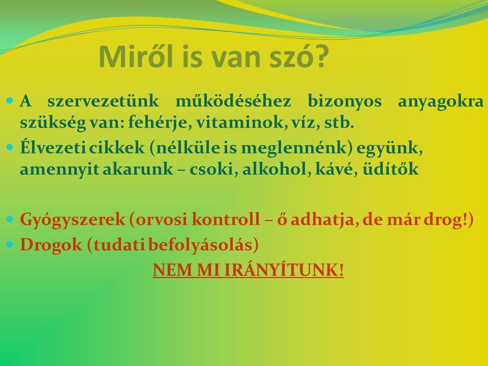 Miről is van szó A szervezetünk működéséhez bizonyos anyagokra szükség van: fehérje, vitaminok, víz, stb.