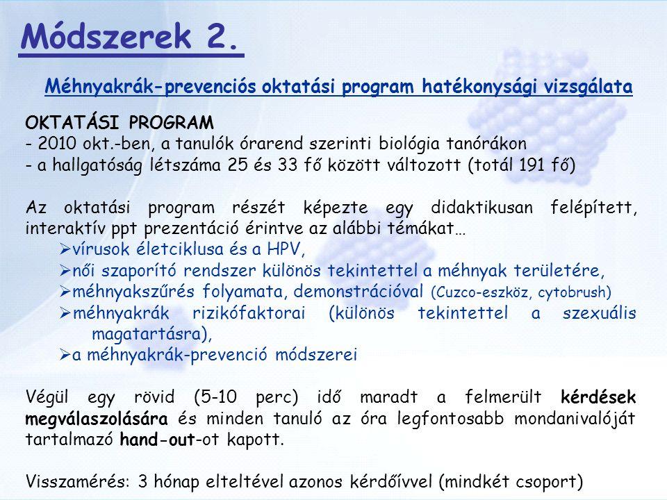 Méhnyakrák-prevenciós oktatási program hatékonysági vizsgálata