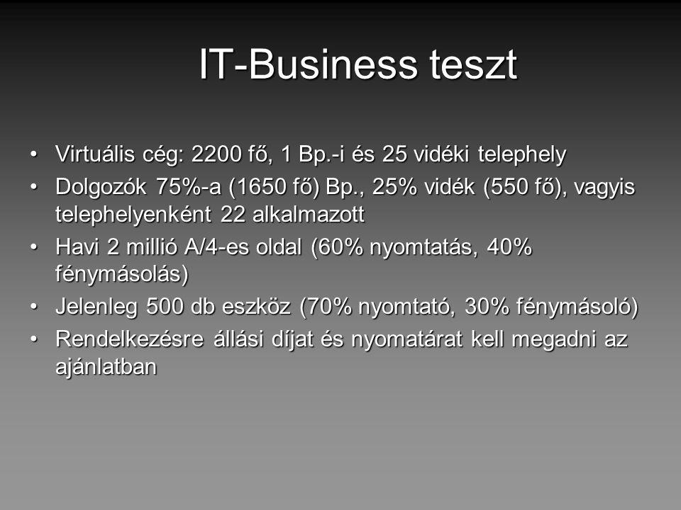 IT-Business teszt Virtuális cég: 2200 fő, 1 Bp.-i és 25 vidéki telephely.