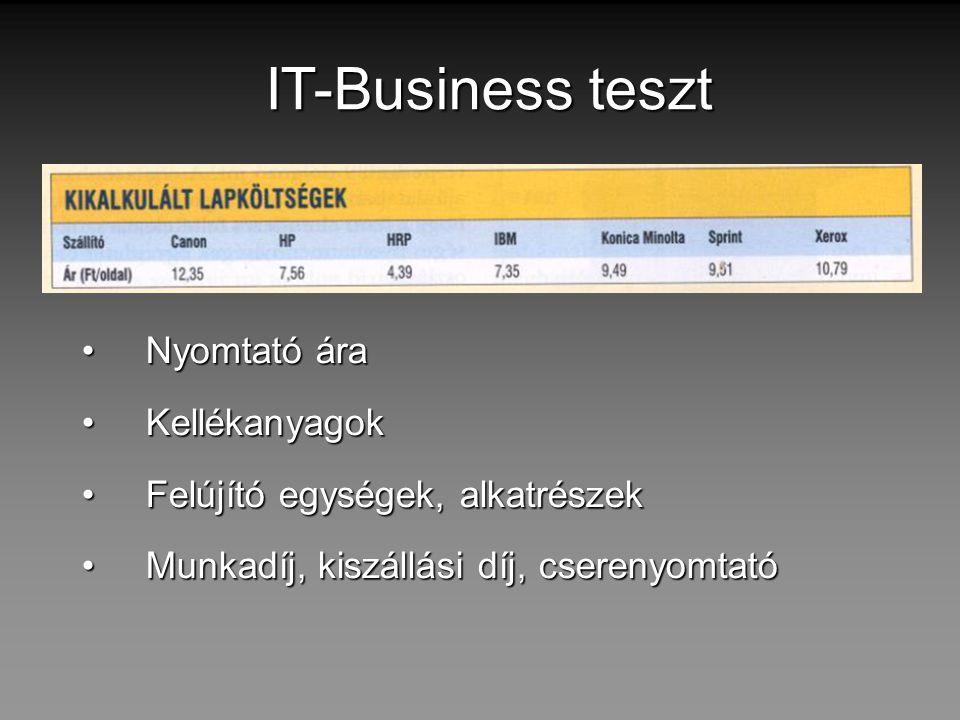 IT-Business teszt Nyomtató ára Kellékanyagok