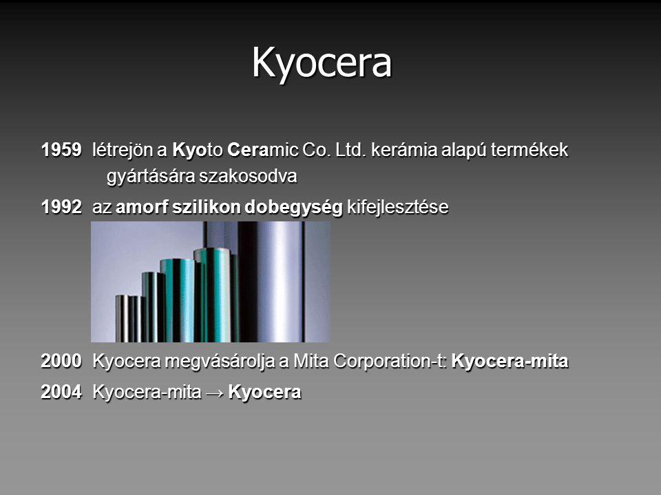Kyocera 1959 létrejön a Kyoto Ceramic Co. Ltd. kerámia alapú termékek gyártására szakosodva. 1992 az amorf szilikon dobegység kifejlesztése.