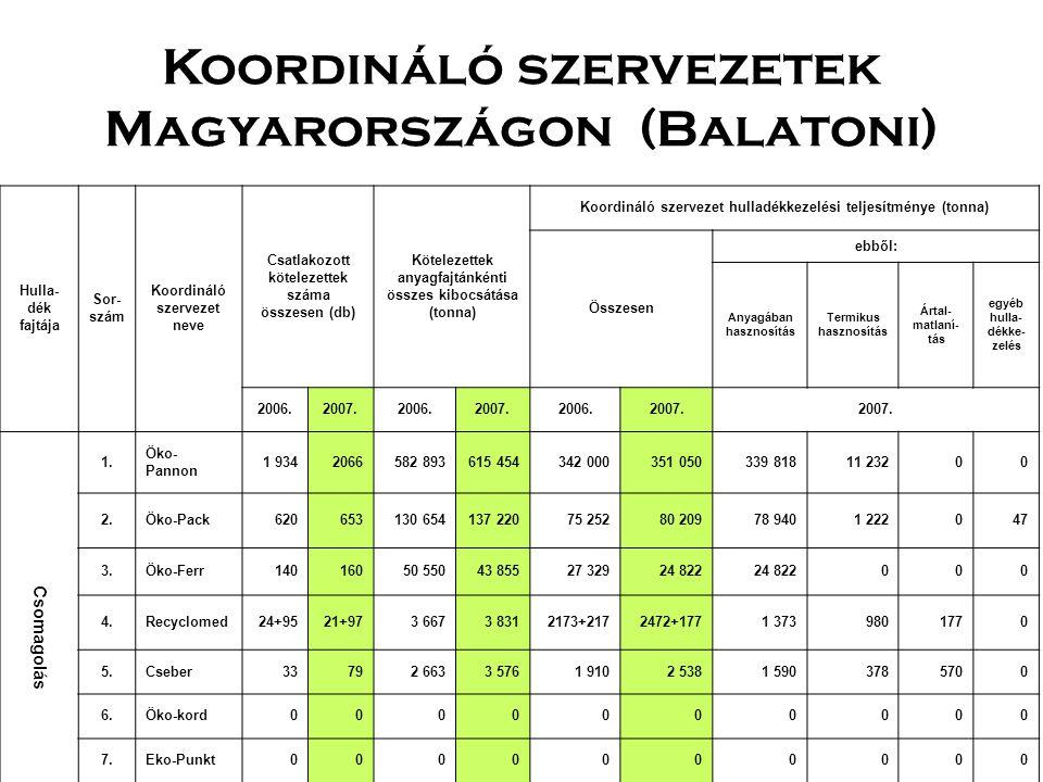 Koordináló szervezetek Magyarországon (Balatoni)