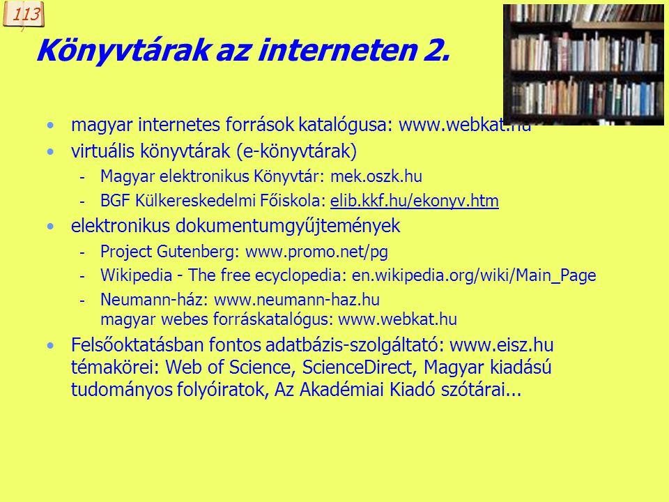 Könyvtárak az interneten 2.