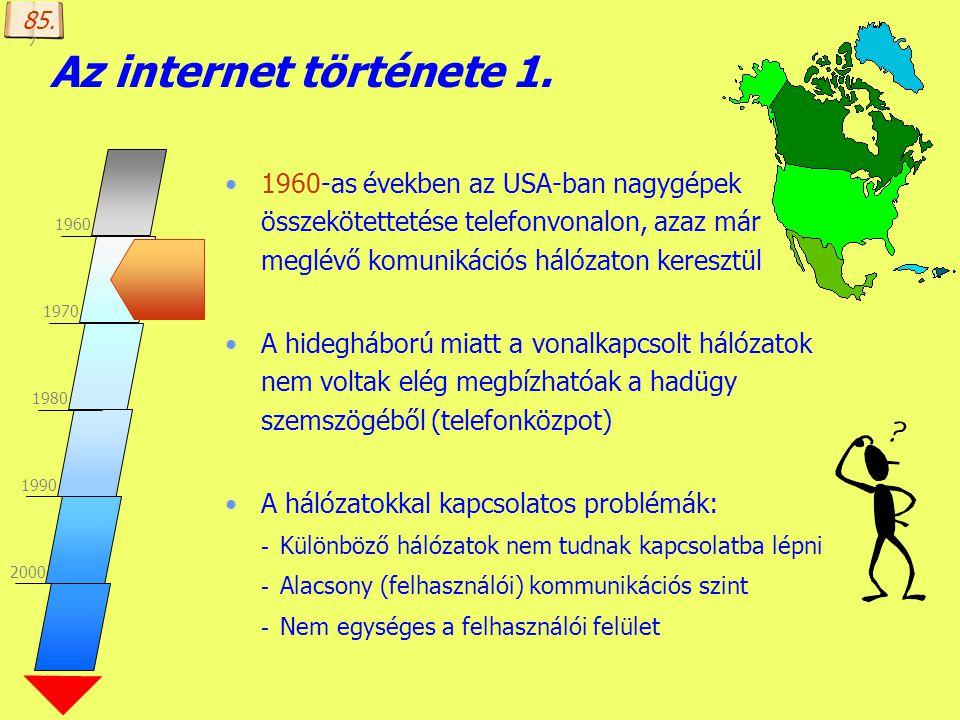 85. Az internet története 1. 1960. 1970. 1980. 1990. 2000.